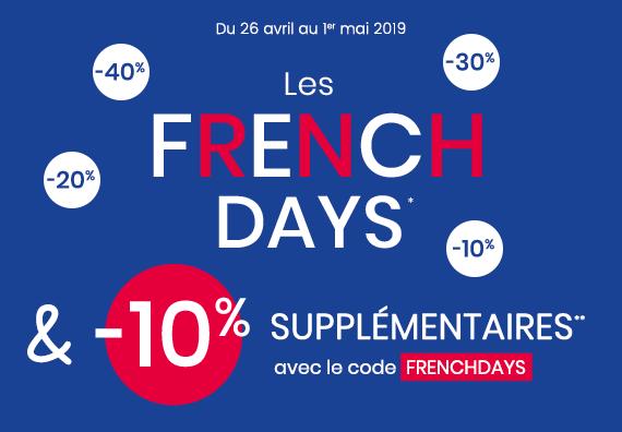 Du 26 avril au 1er mai 2019 : les French days c'est -10% supplémentaires !